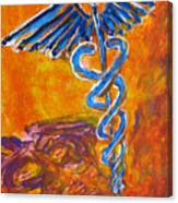 Orange Blue Purple Medical Caduceus Thats Atmospheric And Rising With Mystery Canvas Print