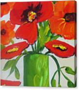 Orange Flowers In Lime Green Vase Canvas Print