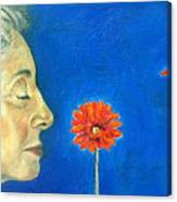 Orange Gerbera On Cobalt Canvas Print