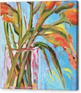 Orange Gladiolus In Vase Canvas Print