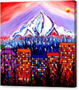 Orange Moon Over Mount Hood #1 Canvas Print