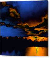 Orange On Blue Canvas Print