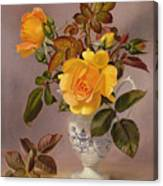 Orange Roses In A Blue And White Jug Canvas Print