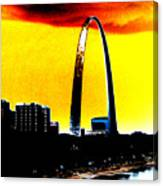 Orange Skies And The Arch Canvas Print