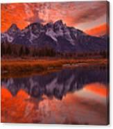 Orange Skies Over The Tetons Canvas Print
