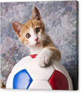 Orange Tabby Kitten With Soccer Ball Canvas Print