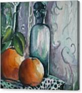 Oranges With Blue Bottle Canvas Print