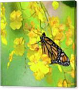 Orchids And Butterfly Painting Canvas Print