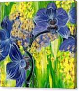 Orchids In A Gold Rain Canvas Print