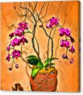 Orchids In Basket Canvas Print