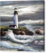 Oregon Lighthouse Beam Of Hope Canvas Print