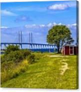 Oresund Bridge With Cabanas Canvas Print