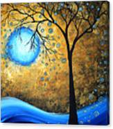 Orginal Abstract Landscape Painting Blue Fire By Madart Canvas Print