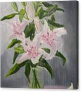 Oriental Lilies In White And Pink Canvas Print