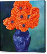 Oriental Poppies In Blue Canvas Print