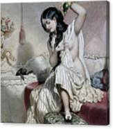 Oriental Woman At Her Toilet Canvas Print