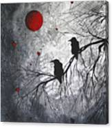 Original Abstract Surreal Raven Red Blood Moon Painting The Overseers By Madart Canvas Print