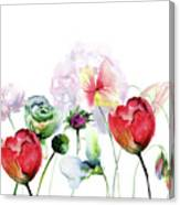Original Floral Background With Flowers Canvas Print