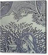 Original Linoleum Block Print Canvas Print