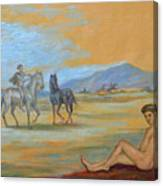 Original Oil Painting Art Male Nude With Horses On Canvas #16-2-5 Canvas Print