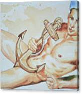 Original Watercolor Painting Artwork Sailor Male Nude Man Gay Interest On Paper #9-015 Canvas Print