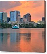 Orlando Skyscrapers And Palm Trees Canvas Print