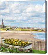 Ornamental Boat Against Tynemouth Coastline Canvas Print