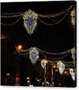Ornamental Design Christmas Light Decoration In Madrid, Spain Canvas Print