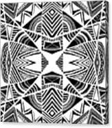 Ornamental Intersection - Abstract Black And White Graphic Drawing Canvas Print