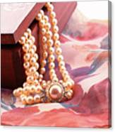 Ornate Box Carved And Pearl Necklace Detail Canvas Print