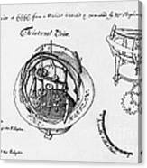 Orrery By Stephen Hales, 1705 Canvas Print