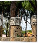 Ostia Antica - Theatre Marble Masks Canvas Print