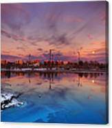 Oulu Moonrise Panorama Canvas Print