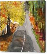 Our Road With Yellow Maple Canvas Print
