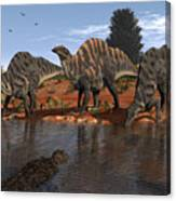 Ouranosaurus Drink At A Watering Hole Canvas Print