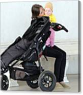 Out Of The Baby Stroller -- A Mother And Daughter Canvas Print