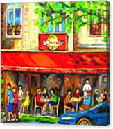 Outdoor Cafe On St. Denis In Montreal Canvas Print
