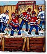Pointe St Charles Hockey Rink Painting Leafs Vs Habs Quebec Winter Scene Hockey Art Carole Spandau Canvas Print