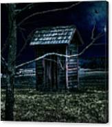 Outhouse In The Moonlight With Flying Crows Canvas Print
