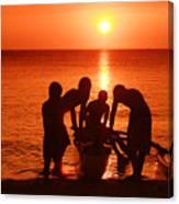 Outrigger Sunset Silhouet Canvas Print