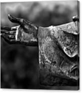 Outstreched Hand B-w Canvas Print