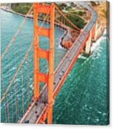 Overhead Aerial Of Golden Gate Bridge, San Francisco, Usa Canvas Print