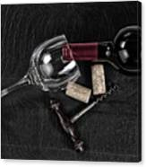 Overhead View Of Vintage Corkscrew With Red Wine Bottle And Glas Canvas Print
