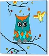 Owl And Birds - Whimsical Canvas Print