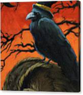 Owl And Crow Halloween Canvas Print