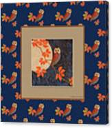 Owl And Moon On Midnight Blue Canvas Print