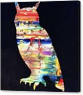 Owl On Black Canvas Print