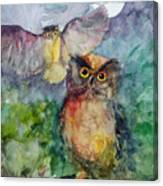 Owls In The Night... Canvas Print