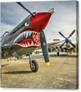 P40 Warhawk And P51d Mustang On The Ramp Canvas Print