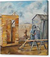 Pa Builds A New Outhouse Canvas Print